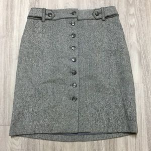 Anne Taylor Tweed Pencil Skirt Gray Lined sz 2